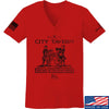 IV8888 Ladies Founding Fathers' City Tavern Signage V-Neck T-Shirts, V-Neck SMALL / Red by Ballistic Ink - Made in America USA