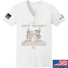 IV8888 Ladies Founding Fathers' City Tavern Signage V-Neck T-Shirts, V-Neck SMALL / White by Ballistic Ink - Made in America USA