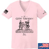 IV8888 Ladies Founding Fathers' City Tavern Signage V-Neck T-Shirts, V-Neck SMALL / Light Pink by Ballistic Ink - Made in America USA