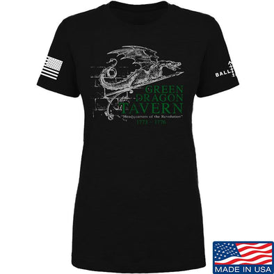 IV8888 Ladies Green Dragon Tavern Signage T-Shirt T-Shirts SMALL / Black by Ballistic Ink - Made in America USA