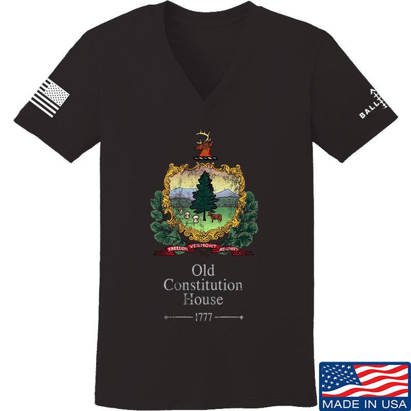 IV8888 Ladies Old Constitution House Tavern Signage V-Neck T-Shirts, V-Neck SMALL / Black by Ballistic Ink - Made in America USA