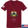 IV8888 Ladies Old Constitution House Tavern Signage V-Neck T-Shirts, V-Neck SMALL / Cranberry by Ballistic Ink - Made in America USA