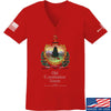 IV8888 Ladies Old Constitution House Tavern Signage V-Neck T-Shirts, V-Neck SMALL / Red by Ballistic Ink - Made in America USA