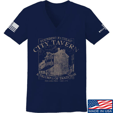 IV8888 Ladies Founding Fathers' City Tavern V-Neck T-Shirts, V-Neck SMALL / Navy by Ballistic Ink - Made in America USA