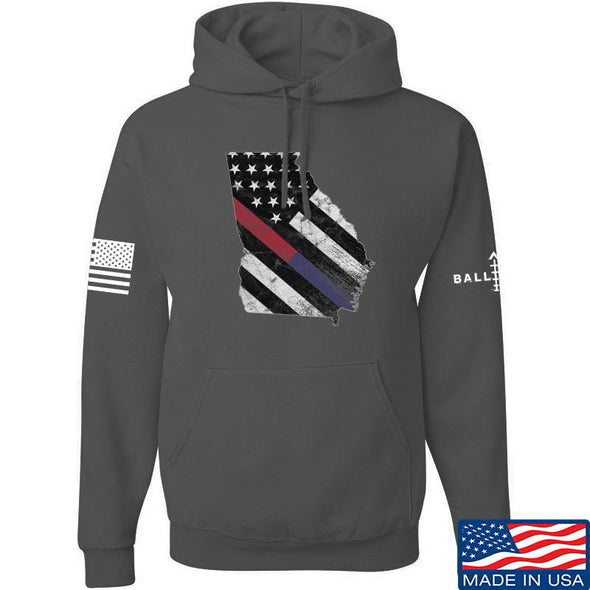 IV8888 Georgia Red and Blue Line Hoodie Hoodies Small / Charcoal by Ballistic Ink - Made in America USA