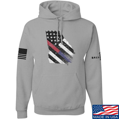 IV8888 Georgia Red and Blue Line Hoodie Hoodies Small / Light Grey by Ballistic Ink - Made in America USA