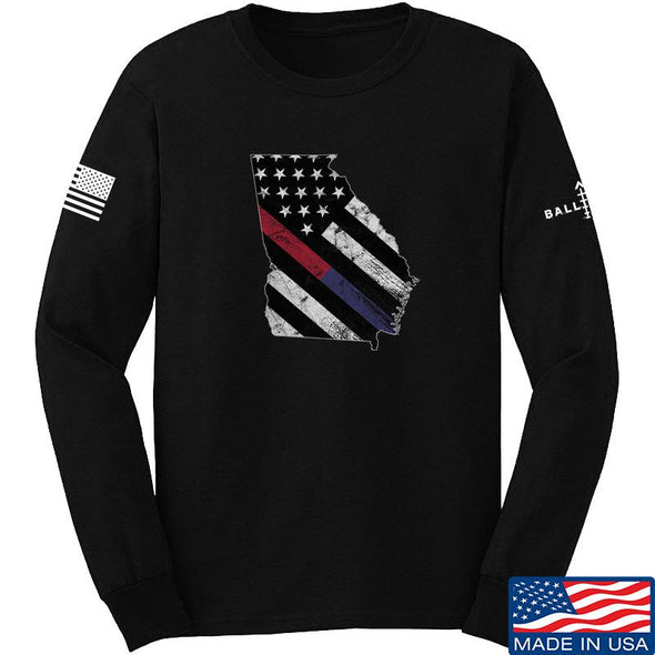 IV8888 Georgia Red and Blue Line Long Sleeve T-Shirt Long Sleeve Small / Black by Ballistic Ink - Made in America USA