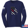 IV8888 Georgia Red and Blue Line Long Sleeve T-Shirt Long Sleeve Small / Navy by Ballistic Ink - Made in America USA