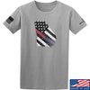 IV8888 Georgia Red and Blue Line T-Shirt T-Shirts Small / Light Grey by Ballistic Ink - Made in America USA