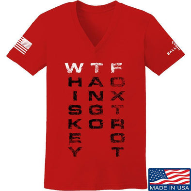 IV8888 Ladies Whiskey Tango Foxtrot V-Neck T-Shirts, V-Neck SMALL / Red by Ballistic Ink - Made in America USA