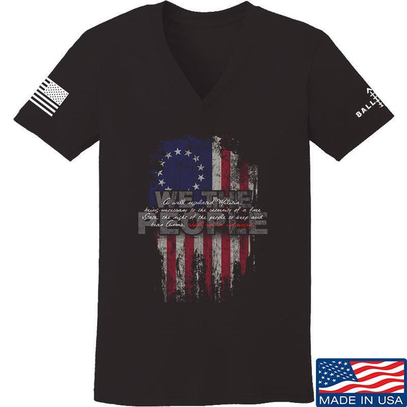 IV8888 Ladies We The People V-Neck T-Shirts, V-Neck SMALL / Black by Ballistic Ink - Made in America USA