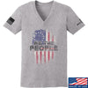 IV8888 Ladies We The People V-Neck T-Shirts, V-Neck SMALL / Light Grey by Ballistic Ink - Made in America USA