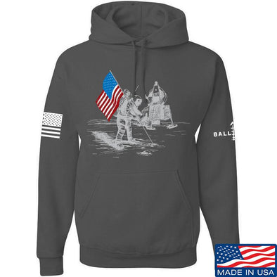 IV8888 First Man on The Moon Hoodie Hoodies Small / Charcoal by Ballistic Ink - Made in America USA