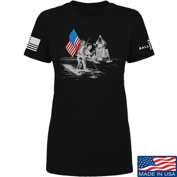 IV8888 Ladies First Man on The Moon T-Shirt T-Shirts SMALL / Black by Ballistic Ink - Made in America USA