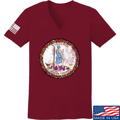 Ladies Virginia State Seal V-Neck
