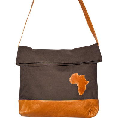 Unisex Africa Fold-Over Messenger Bag