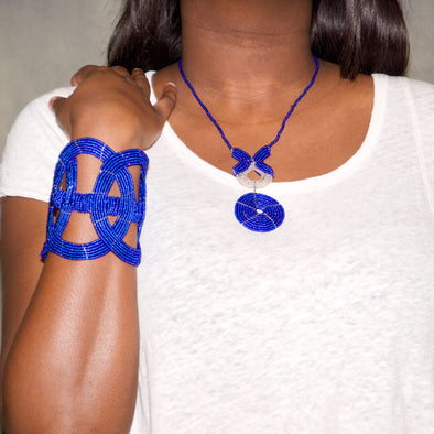 Malaiki Necklace pictured with Ukuki Ukuki Bracelet in Marine Blue