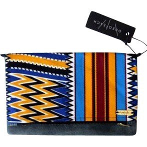 Wax Print Ankara and Leather Convertible Clutch