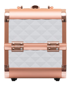 Justine Makeup Case  Rose Gold with White