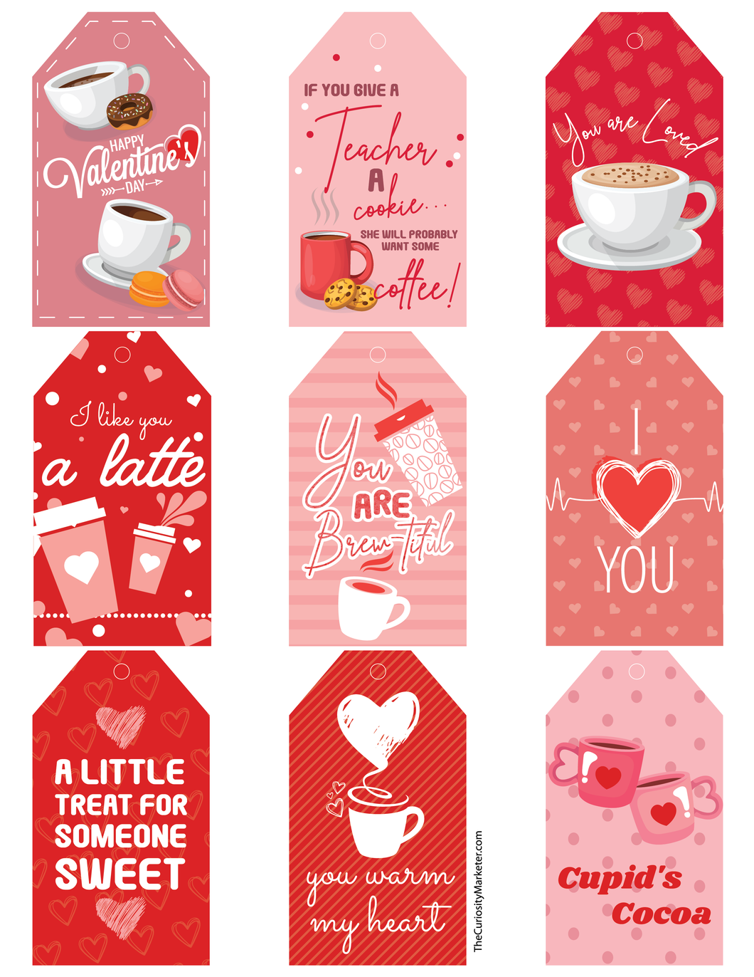 Valentine's Day Tags - Free Printable Instant Download