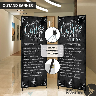 Vertical Banner - Happy Coffee Sold Here