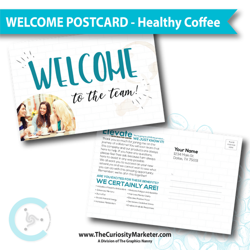 PERSONALIZED Welcome to the Team Postcard - Healthy Coffee