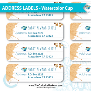 Address Labels - Watercolor Cup