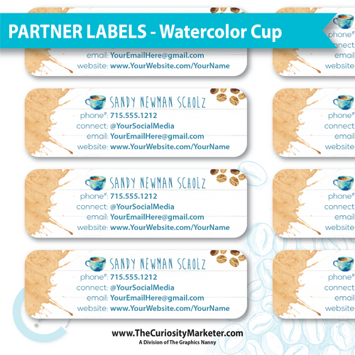 Partner Labels - Watercolor Cup