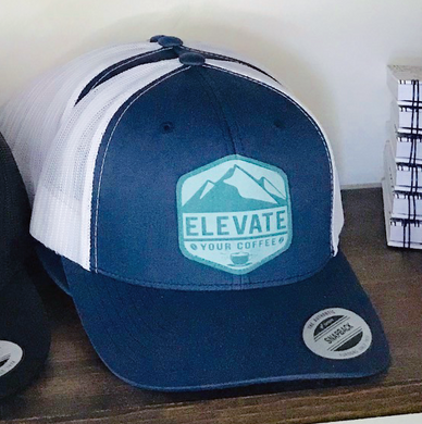 Elevate Your Coffee BLUE/WHITE TRUCKER Hat - Teal Tagit - FLAT Bill