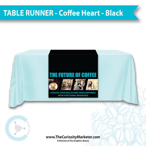 Table Runner - Coffee Heart - Black