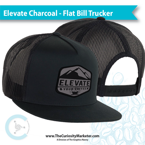 Elevate Your Coffee TRUCKER Hat - Charcoal Tagit - FLAT Bill