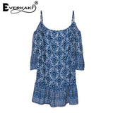 Everkaki Ruffles Women Dress Summer Boho Mini Dresses Slash Neck Casual Beach Dress Geometric Pattern Vestidos Half Sleeve New