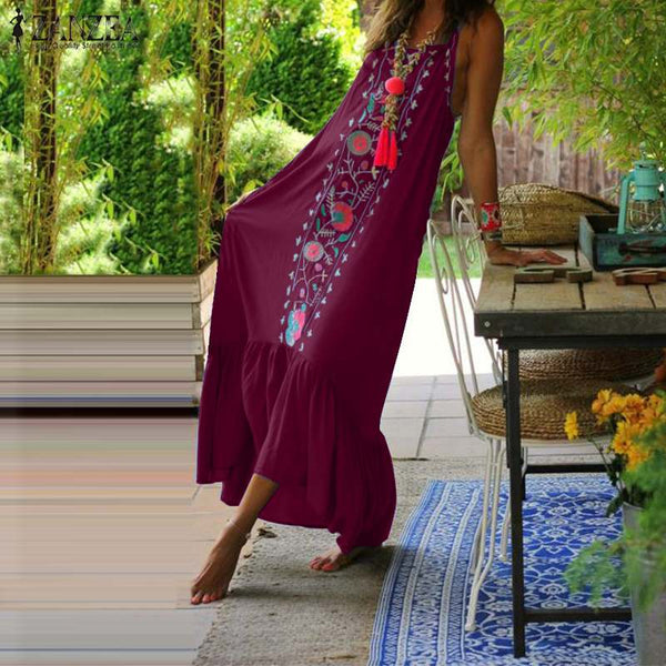 Bohemian Maxi Dress 2019 ZANZEA Women's Summer Sundress Holiday Strap Ruffle Dress Female Print Vestidos Plus Size Robe Femme