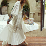 New Long Beach Dress Cotton  Lace Beach Cover up Pareos de Playa Mujer Bikini cover up Saida de Praia Swimsuit Cover up