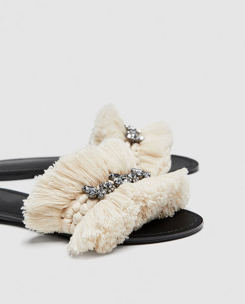New summer rhinestone Tassel women slippers comfortable Fringed Flat Heels slip on ladies Shoes casual open toe Lazy Loafers
