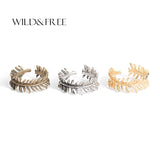 Wild & Free New Arrival Zinc Alloy Leaf Rings Open-end Ring For Women 3 Colors Vintage Midi Plant Rings 2017 Fashion Jewelry