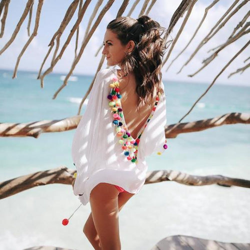 Rainbow Pom Pom Cover Up