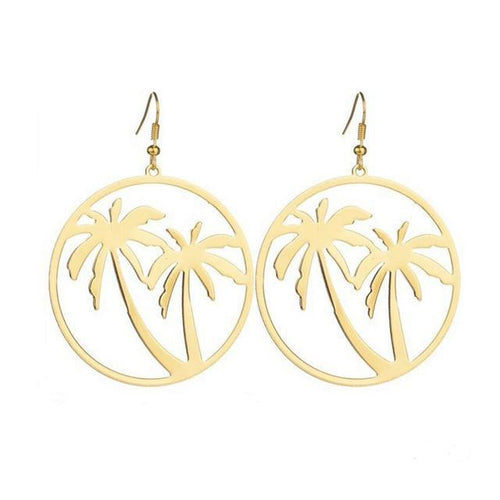 Coconut Palm Hoop Earring