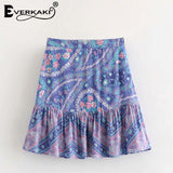 Everkaki 2018 Summer Women Boho Floral Print Mini Skirt Cotton Zipper Bohemian Ladies A-Line New Skirts Female 2018 Summer New