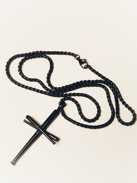 "Baseball Bat Cross Pendant and Chain, Gunmetal Black 22"" Chain"