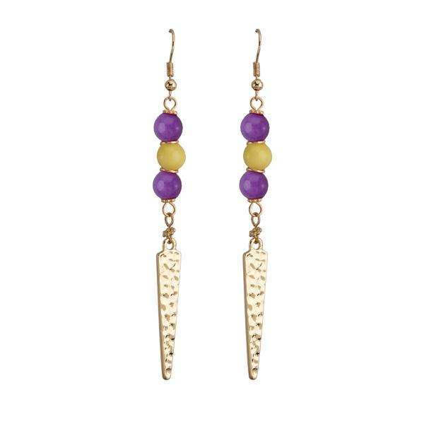"3"" Purple / Yellow beaded dangle earrings w/ hammered metal"