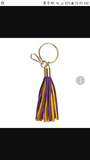 "Suede Fringed Keychain 4"" Purple Yellow Gold"