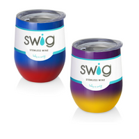 SWiG 12 oz Wine Tumbler 304 Stainless Steel Powder Coat - Ombre Gameday Colors!