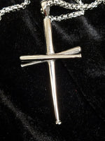 Baseball Cross Necklace, Stainless Steel - Silver