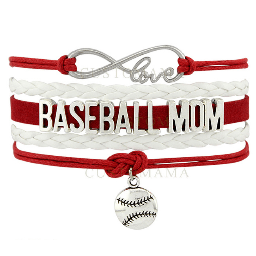Infinity Love Baseball Mom Bracelet Custom Colors & Lettering Available