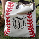 CANVAS Large Baseball Tote, 22x15x6, Lined w/ zipper pocket (Monogram Available)