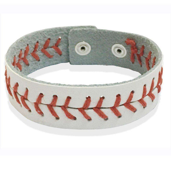 Genuine Leather Baseball Bracelet, Adjustable for Youth and Adult Wrists