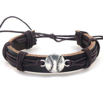 Leather Baseball Tie Wristlet