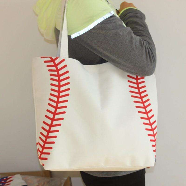 Small Canvas Baseball Tote / Shoulder Bag (Monograms/Logos Available) 12x15""
