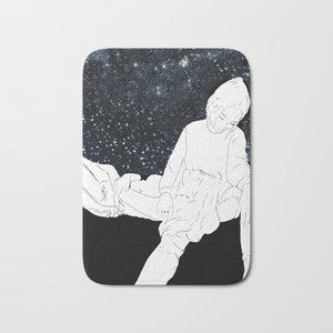 Night Sky Bath Mat Lesbian Galaxy Artwork/Christmas Gift/Star Watching Art/Poster LGBTQ/Lesbian Couple/Love/Wedding Gift Queer